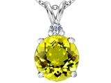 Star K™ Large 12mm Round Simulated Peridot and Cubic Zirconia Pendant Necklace style: 307244