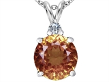 Star K™ Large 12mm Round Simulated Imperial Yellow Topaz Pendant Necklace style: 307246