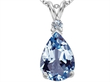 Star K™ Large 14x10mm Pear Shape Simulated Aquamarine Pendant Necklace style: 307251