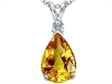 Original Star K™ Large 14x10mm Pear Shape Simulated Citrine Pendant style: 307253
