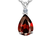 Star K™ Large 14x10mm Pear Shape Simulated Garnet Pendant Necklace style: 307255