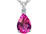 Star K™ Large 14x10mm Pear Shape Created Pink Sapphire Pendant Necklace style: 307256