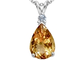 Star K™ Large 14x10mm Pear Shape Simulated Imperial Yellow Topaz Pendant Necklace style: 307261