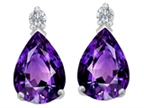Star K™ 8x6mm Pear Shape Simulated Amethyst Earrings Studs style: 307262