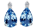 Star K™ 8x6mm Pear Shape Simulated Blue Topaz Earrings Studs style: 307264