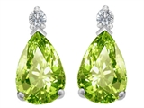 Star K™ 8x6mm Pear Shape Simulated Peridot and Cubic Zirconia Earrings Studs style: 307267