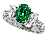 Star K™ 9x7mm Oval Simulated Emerald Ring style: 307278