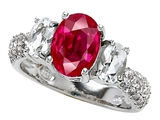 Star K™ 9x7mm Oval Created Ruby Ring style: 307280