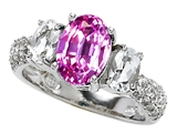 Star K™ 9x7mm Oval Created Pink Sapphire Ring style: 307282