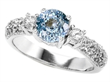 Star K™ 7mm Round Simulated Aquamarine Ring style: 307302