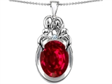 Star K™ Large Loving Mother and Twins Family Pendant Necklace With Oval 11x9mm Created Ruby style: 307322