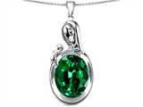 Star K™ Loving Mother With Child Family Pendant Necklace With Oval 11x9mm Simulated Emerald style: 307324