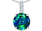 Star K™ Large 12mm Round Simulated Emerald Pendant Necklace style: 307343