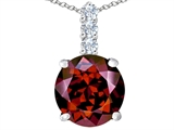 Star K™ Large 12mm Round Simulated Garnet Pendant Necklace style: 307344