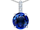 Star K™ Large 12mm Round Created Sapphire Pendant Necklace style: 307346