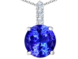 Star K™ Large 12mm Round Simulated Tanzanite Pendant Necklace style: 307347