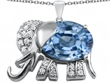 Star K™ Large 12x10mm Oval Simulated Aquamarine Good Luck Elephant Pendant Necklace style: 307369