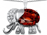 Star K™ Large 12x10mm Oval Simulated Garnet Good Luck Elephant Pendant Necklace style: 307372