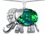 Star K™ Large 12x10mm Oval Simulated Emerald Good Luck Elephant Pendant Necklace style: 307375