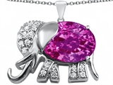 Star K™ Large 12x10mm Oval Created Pink Sapphire Good Luck Elephant Pendant Necklace style: 307378