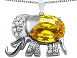 Star K™ Large 12x10mm Oval Simulated Citrine Good Luck Elephant Pendant Necklace style: 307381