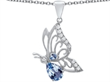 Star K™ Butterfly Pendant Necklace With 9x6mm Pear Shape Simulated Aquamarine style: 307390