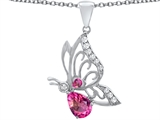Star K™ Butterfly Pendant Necklace With 9x6mm Pear Shape Created Pink Sapphire style: 307393