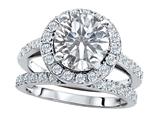 Original Star K™ 8mm Round Genuine White Topaz Engagement Wedding Set style: 307407
