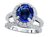 Star K™ 8mm Round Created Sapphire Wedding Set style: 307408