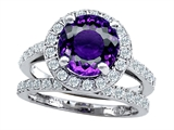 Star K™ 8mm Round Simulated Amethyst Wedding Set style: 307424