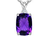 Star K™ Large 14x10mm Cushion Cut Simulated Amethyst Pendant Necklace style: 307439
