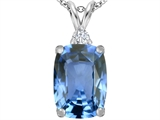 Star K™ Large 14x10mm Cushion Cut Simulated Aquamarine Pendant Necklace style: 307440