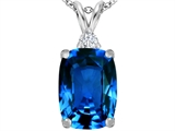 Star K™ Large 14x10mm Cushion Cut Simulated Blue Topaz Pendant Necklace style: 307443