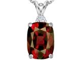 Star K™ Large 14x10mm Cushion Cut Simulated Garnet Pendant Necklace style: 307447
