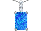 Star K™ Large 14x10mm Emerald Cut Blue Created Opal Pendant Necklace style: 307456