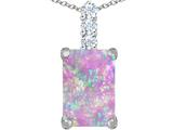Star K™ Large 14x10mm Emerald Cut Pink Created Opal Pendant Necklace style: 307457