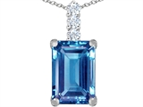 Star K™ Large 14x10mm Emerald Cut Simulated Aquamarine Pendant Necklace style: 307462