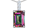 Star K™ Large 14x10mm Emerald Cut Rainbow Mystic Topaz Pendant Necklace style: 307463