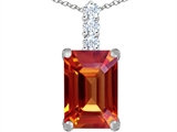 Star K™ Large 14x10mm Emerald Cut Simulated Orange Mexican Fire Opal Pendant Necklace style: 307464