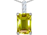 Star K™ Large 14x10mm Emerald Cut Simulated Peridot and Cubic Zirconia Pendant Necklace style: 307465