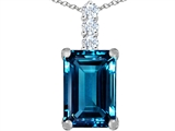 Star K™ Large 14x10mm Emerald Cut Simulated Blue Topaz Pendant Necklace style: 307468