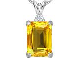 Star K™ Large 14x10mm Emerald Cut Simulated Citrine Pendant Necklace style: 307474