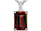 Star K™ Large 14x10mm Emerald Cut Simulated Garnet Pendant Necklace style: 307476