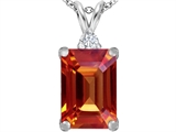 Star K™ Large 14x10mm Emerald Cut Simulated Orange Mexican Fire Opal Pendant Necklace style: 307478