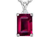 Star K™ Large 14x10mm Emerald Cut Created Ruby Pendant Necklace style: 307480