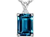 Star K™ Large 14x10mm Emerald Cut Simulated Blue Topaz Pendant Necklace style: 307482