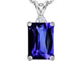 Star K™ Large 14x10mm Emerald Cut Simulated Tanzanite Pendant Necklace style: 307483