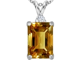 Original Star K™ Large 14x10mm Emerald Cut Simulated Imperial Yellow Topaz Pendant style: 307484