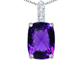 Star K™ Large 14x10mm Cushion Cut Simulated Amethyst Pendant Necklace style: 307485