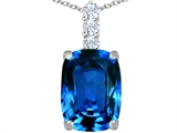 Star K™ Large 14x10mm Cushion Cut Simulated Blue Topaz Pendant Necklace style: 307490
